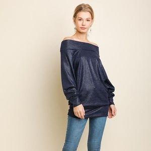Umgee Off Shoulder Metallic Fabric Long Sleeve